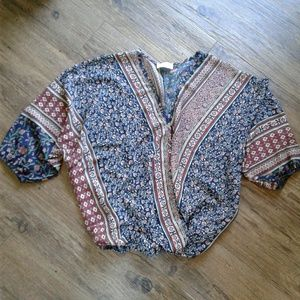 Poetry Multi Colored Faux Wrap Blouse